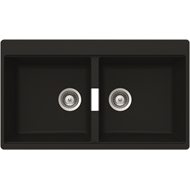 Abey 860 x 500mm Schock  Cristadur Double Black Sink