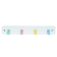 4 Pastel Hooks White Board Key Rack