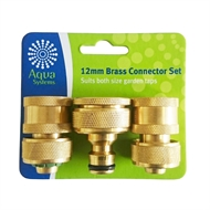 Aqua Systems 3 Piece Brass Hose Connector Set