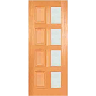 Woodcraft Doors 2040 x 820 x 40mm Modern French Frosted Safety Glass Entrance Door