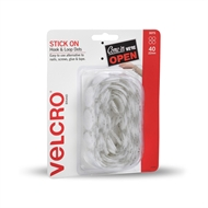 VELCRO® Brand 22mm White Stick On Hook And Loop Dots - 40 Pack