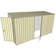 Build-A-Shed 1.2 x 3.7 x 2.0m Zinc Tunnel Shed Tunnel Hinged Door with 1 Hinged Side Door - Cream