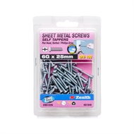 Zenith 6g x 25mm Sheet Metal Self Tapping Pan Head Slotted Phillips Drive Screws - 100 Pack