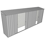 Build-a-Shed 0.8 x 5.2 x 2m Hinged Door Tunnel Shed with Double and Single Sliding Side Doors - Zinc