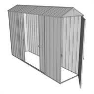 Build-a-Shed 0.8 x 3 x 2.3m Gable Single Hinged Door Shed with Double Sliding Side Door - Zinc