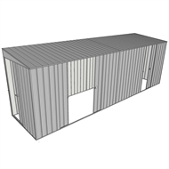 Build-a-Shed 1.5 x 6 x 2m Skillion Double and Single Sliding Side Doors Shed - Zinc