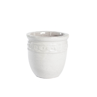 Tuscan Path 31cm White Studded Glazed Pot