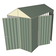 Build-a-Shed 1.5 x 3.0 x 2.3m Front Gable Single Hinged and Double Hinged Door Narrow Shed - Green