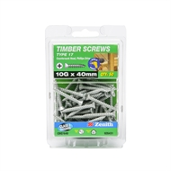 Zenith 10g x 40mm Galvanised Countersunk Ribbed Head Type 17 Timber Screws - 50 Pack