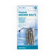 Daytek 8 x 50mm Stainless Steel Clothesline Anchor Bolt - 4 Pack
