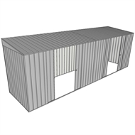 Build-a-Shed 1.5 x 6 x 2m Dual Sliding Side Door Skillion Shed - Zinc