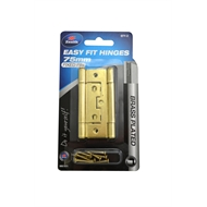 Zenith 75mm Brass Plated Fixed Pin Easy Fit Hinge - 2 Pack