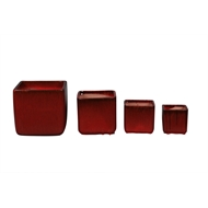 Northcote Pottery 17 x 17cm Wine Red Glazed Oslo Cube