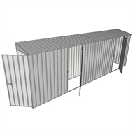 Build-a-Shed 0.8 x 6 x 2m Single Hinged Door Skillion Shed with Dual Single Hinged Side Doors - Zinc