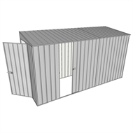 Build-A-Shed 1.2 x 3.7 x 2.0m Zinc Tunnel Shed Tunnel Hinged Door with 1 Sliding Side Door - Zinc