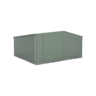 Absco Sheds 5.6 x 2.66 x 5.5m Pale Eucalypt Compact Double Garage with Double Hinged Barn Doors