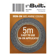 inBuilt 21mm x 5m Black Matt Iron-On Melamine Edging