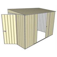 Build-a-Shed 1.5 x 3 x 2m Hinged Door Tunnel Shed with 2 Sliding Side Doors - Cream
