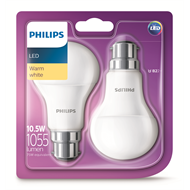 Philips 10.5W LED A60 Globes Bc Warm White - 2 Pack