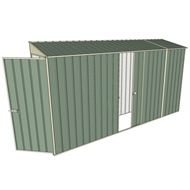 Build-a-Shed 0.8 x 3.7 x 2m Skillion Single Hinged Door Shed with Single Sliding Side Door - Green