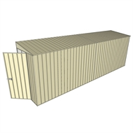 Build-A-Shed 1.2 x 6.0 x 2.0m Zinc Tunnel Shed Tunnel Hinged Door No Side Doors - Cream