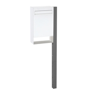 Sandleford White And Grey Metro Post Mount Letterbox With Post