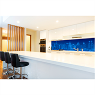 Bellessi 730 x 595 x 5mm Glass Graphic Splashback  - Manhattan Blues