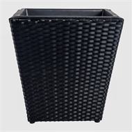 Tuscan Path 46 x 45cm Jet Black Poly Rattan Square Pot