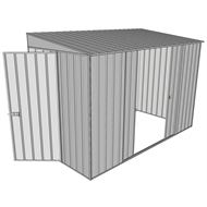 Build-a-Shed 1.5 x 3 x 2m Hinged Door Tunnel Shed with 2 Sliding Side Doors - Zinc