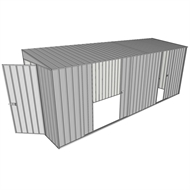 Build-a-Shed 1.5 x 5.2 x 2m Hinged Door Tunnel Shed with 3 Sliding Side Doors - Zinc