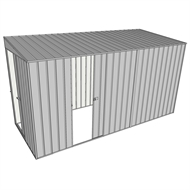 Build-a-Shed 1.5 x 3.7 x 2m Sliding Door Tunnel Shed with Sliding Side Door - Zinc