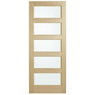 Corinthian Doors 820 x 2040 x 40mm Blonde Oak AWO 5G Translucent Glass Entrance Door