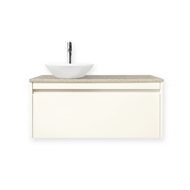 Quay 900mm Antique White Colourstone Organic Wall Hung Vanity