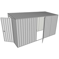 Build-a-Shed 1.5 x 3.7 x 2m Single Hinged Side Door Skillion Shed - Zinc
