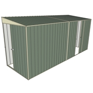 Build-a-Shed 1.5 x 4.5 x 2m Sliding Door Tunnel Shed with 1 Sliding Side Door - Green