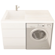 Everhard White Bloom Left Hand Sink 1 Tap Hole Laundry Unit