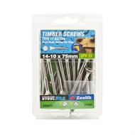 Zenith 14 - 10 x 75mm Stainless Steel Bugle Head Batten Timber Screws - 25 Pack