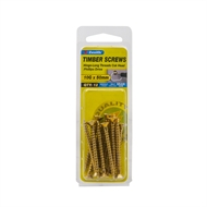 Zenith 10g x 50mm Brass Countersunk Long Thread Phillips Screws - 12 Pack