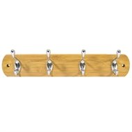 MODE Bamboo Hook Board With 4 Chrome Hooks