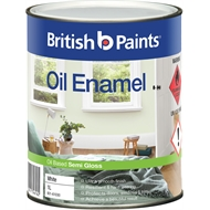 British Paints 1L Semi Gloss White Enamel Paint