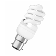 Osram 15W Mini Warm White CFL Deluxstar Twist Spiral BC Globe - 5 Pack
