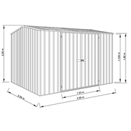 Absco Sheds 3.00 x 2.26 x 2.00m Premier Double Door Shed - Woodland Grey