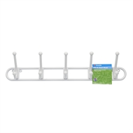 Zenith White Plastic Hat And Coat 5 Hook Rack