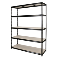 Pinnacle 1830 x 1500 x 410mm Black Powder Coated 5 Tier Adjustable Shelving Unit