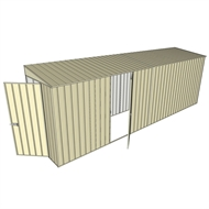 Build-A-Shed 1.2 x 6.0 x 2.0m Zinc Tunnel Shed Tunnel Hinged Door with 1 Hinged Side Door - Cream