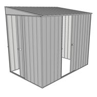 Build-a-Shed 1.5 x 2.3 x 2m Sliding Door Tunnel Shed with Sliding Side Door - Zinc
