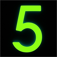 Sandleford 90mm 5 Glow In Dark Acrylic Numeral