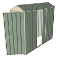 Build-a-Shed 0.8 x 2.3 x 2.3m Gable Single Hinged Door Shed with Single Sliding Side Door - Green