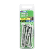 Zenith 12g x 65mm Galvanised Hex Head Type 17 Timber Screws - 8 Pack
