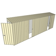 Build-a-Shed 0.8 x 6 x 2m Singled Hinged Door Skillion Shed with Dual Single Sliding Side Doors - Cream